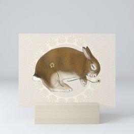 Sleeping Bunny in Cream Lace Wreath Mini Art Print