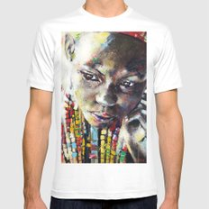 Reverie - Ethnic African portrait MEDIUM White Mens Fitted Tee