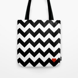 Heart & Chevron - Black/Classic Red Tote Bag