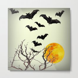 GOTHIC HALLOWEEN FULL MOON BLACK FLYING BATS DESIGN Metal Print