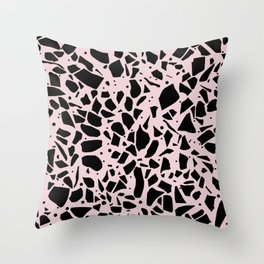 Terrazzo Spot Black on Blush Throw Pillow