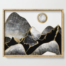 Minimal Black and Gold Mountains Serving Tray