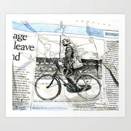 CP Scott on a Bicycle Art Print