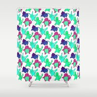 squirtle Shower Curtains featuring First Decision... by pkarnold + The Cult Print Shop