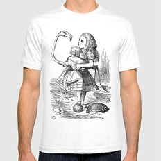 Vintage Alice in Wonderland flamingo croquet antique book drawing emo goth illustration art print  Mens Fitted Tee MEDIUM White