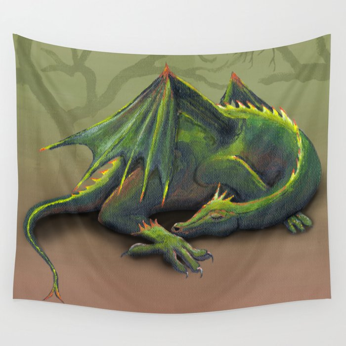 Sleeping Dragon Wall Tapestry By Wizzies Society6
