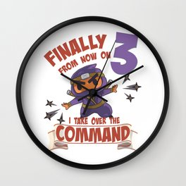 Kids clothes, Ninja for 3rd birthday 3 years old Wall Clock