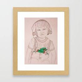 Boy In Headphones Framed Art Print