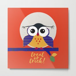 big eyed halloween owl Metal Print