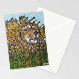 Lion in Lavender Painting Stationery Cards