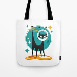 Atomic Space Cat Mid Century Modern Art Scooter Tote Bag