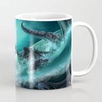 kraken Mugs featuring Kraken by Zeynep Aktaş