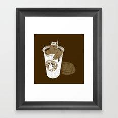 SlowSloth Coffee Dive Framed Art Print