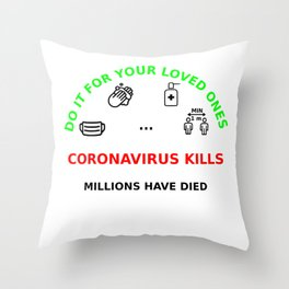 LET'S FIGHT TOGETHER TO KEEP OURS LOVED ONES SAFE Throw Pillow