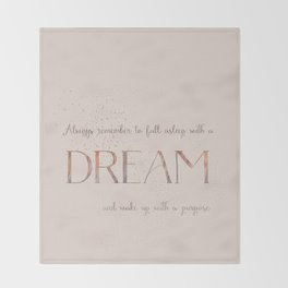 Always remember to fall asleep with a dream - Gold Vintage Glitter Typography Throw Blanket