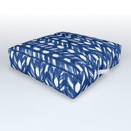 Indigo Geometric Shibori Pattern - Blue Chevrons on White Outdoor Floor Cushion