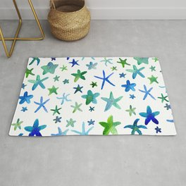 Watercolor Starfish Pattern Rug
