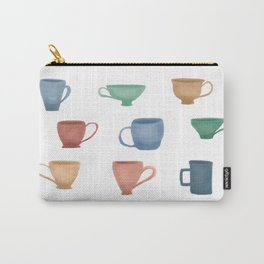 Colorful Tea Cups and Coffee Mugs Carry-All Pouch