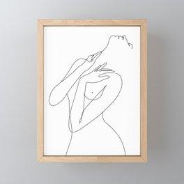 wake woman line Framed Mini Art Print