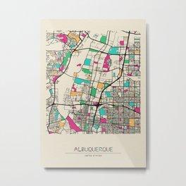 Colorful City Maps: Albuquerque, New Mexico Metal Print