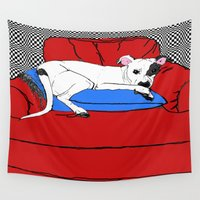 pitbull Wall Tapestries featuring Petey Pitbull Art by Just Bailey Designs