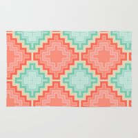 kilim Area & Throw Rugs featuring coral mint kilim by musings