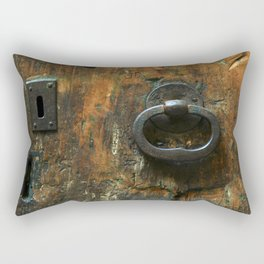 Old Wooden Door with Keyholes Rectangular Pillow
