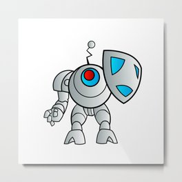 robot with a shield Metal Print