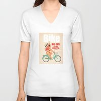 bike V-neck T-shirts featuring BIKE by melivillosa