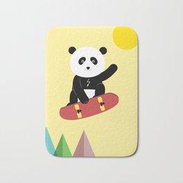 Panda on a skateboard Bath Mat