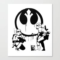 banksy Canvas Prints featuring Banksy Troopers by Don Calamari