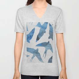Watercolor birds - sapphire ink Unisex V-Neck