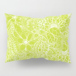 Modern white hand drawn floral lace illustration on lime green punch Pillow Sham