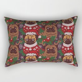 Christmas Party With The Pug Rectangular Pillow