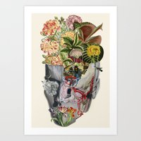 Mindfulness anatomical collage art by bedelgeuse Art Print