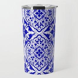 BOHEMIAN PALACE, ORNATE DAMASK: BLUE and WHITE Travel Mug