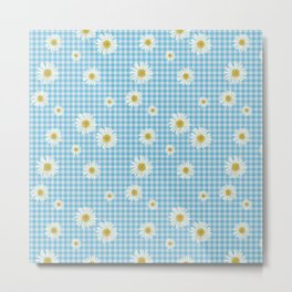 Daisies On Blue Gingham Metal Print