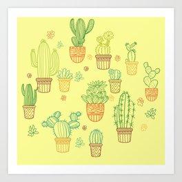 cheerful yellow cactus Art Print