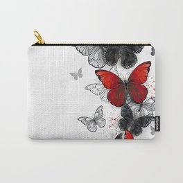 Flying Black and Red Morpho Butterflies Carry-All Pouch