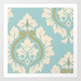 Decorative Damask Art I Cream & Gold on Blue Art Print