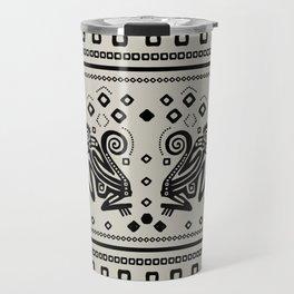Aztec Monkeys and Ornaments - Black Travel Mug