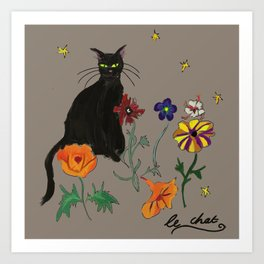 Black cat Le Chat Art Print