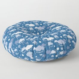 Party Clouds Clasic Blue Floor Pillow