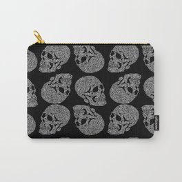 Skull doodle pattern - white on black - trippy art Carry-All Pouch