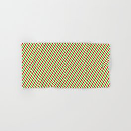 Christmas Themed Red, White, and Green Colored Striped Pattern Hand & Bath Towel