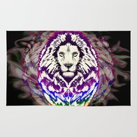 psychedelic art Area & Throw Rugs featuring Lion Psychedelic Pop Art by BluedarkArt