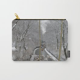 CABS CROSSING THRU CENTRAL PARK ON A SNOWY DAY Carry-All Pouch