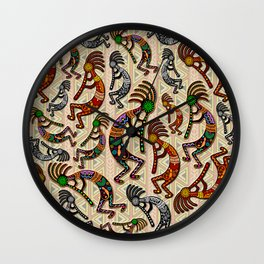 Kokopelli Rainbow Colors on Tribal Pattern  Wall Clock