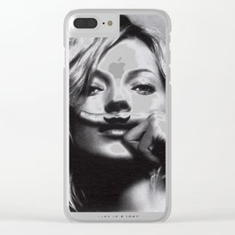 Daily Tee Kate Moss Moustache Clear iPhone Case