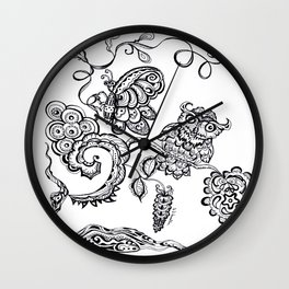 Owl and a Butterfly  Wall Clock